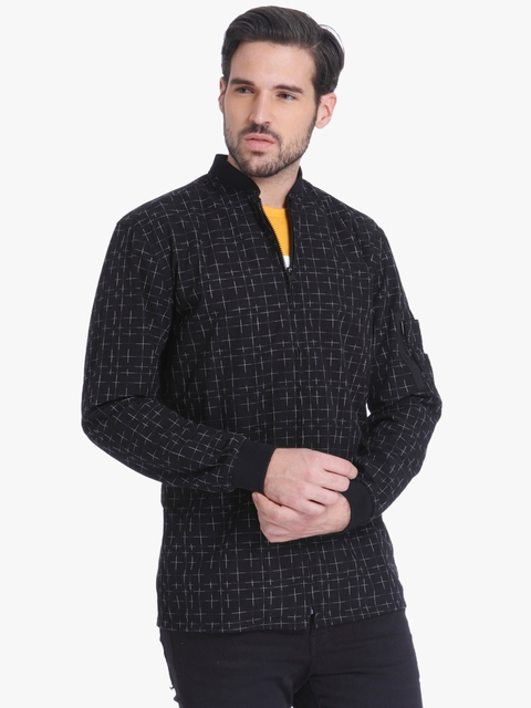 Black Checked Regular Fit Casual Jacket