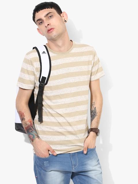 Beige Striped Slim Fit Round Neck T-Shirt