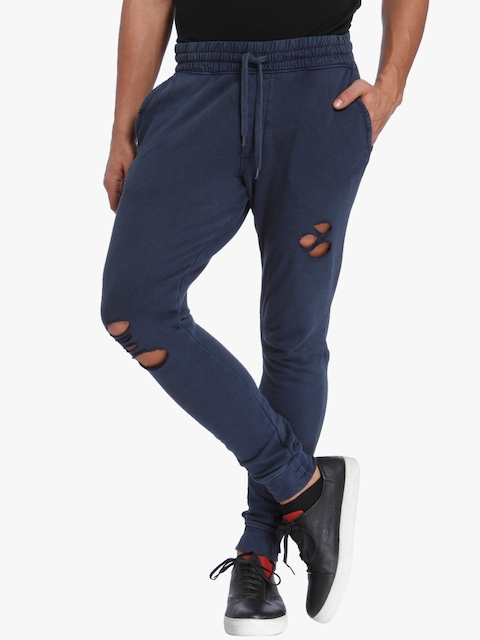 Blue Solid Joggers