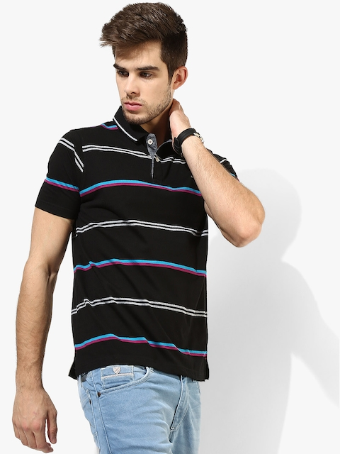 Black Striped Comfort Fit Polo T-Shirt