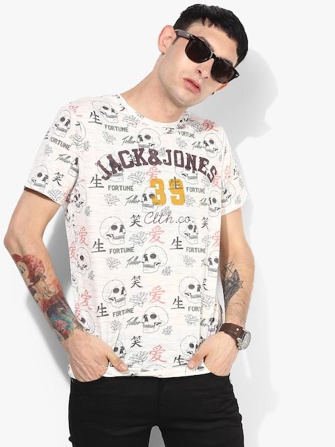 Beige Printed Slim Fit Round Neck T-Shirt