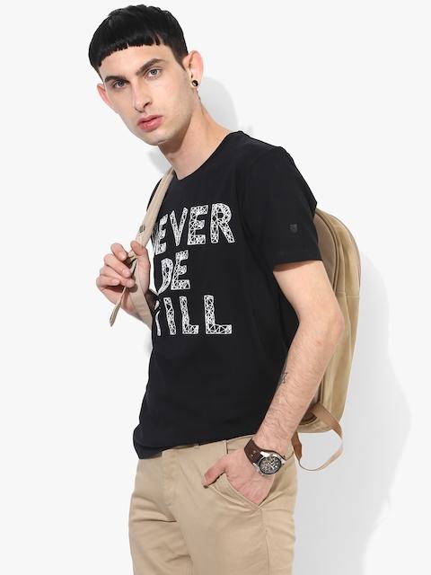 Black Printed Regular Fit Round Neck T-Shirt
