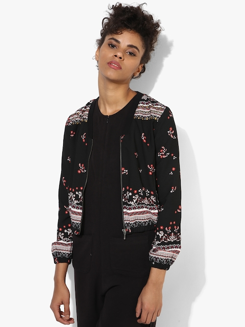 Black Printed Winter Jacket