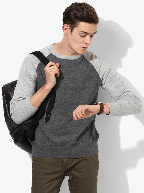 Dark Grey Textured Round Neck Sweater