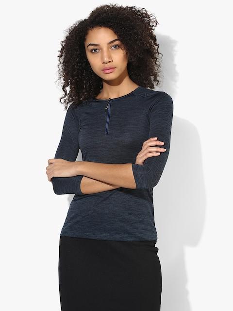 SPYKAR Navy Blue Solid T Shirt