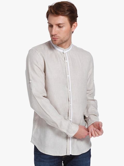 Beige Solid Slim Fit Casual Shirt