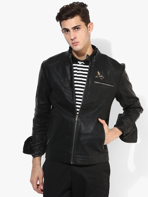 Black Solid Slim Fit Casual Jacket