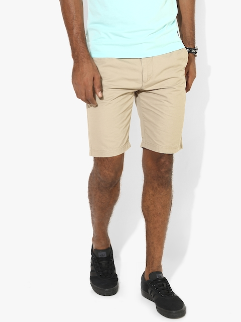 IZOD Men Beige Solid Slim Fit Chino Shorts