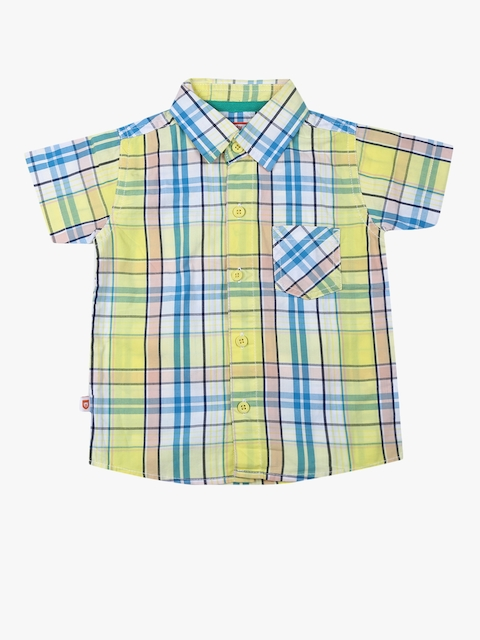 Yellow Checked Slim Fit Casual Shirt