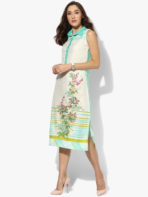 Off White Printed Rayaon Dresses