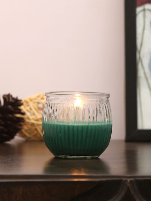 Athome by Nilkamal Set of 6 Green Deep Evergreen Swirl Cup Candles