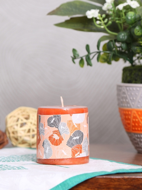 Athome by Nilkamal Set of 4 Orange Tang Bliss Pillar Candles