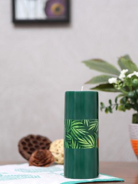 Athome by Nilkamal Set of 2 Green Rustic Deep Evergreen Pillar Candles