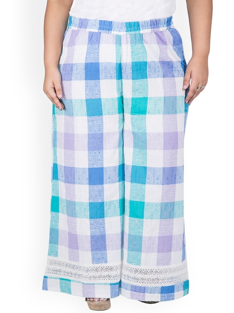 TALINUM Women White & Blue Checked Wide Leg Palazzos