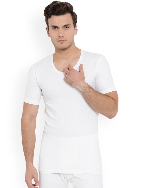 Monte Carlo Men Off White Solid Thermal T-Shirt