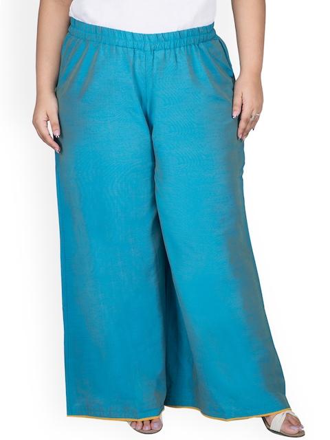 TALINUM Women Blue Wide Leg Solid Palazzos