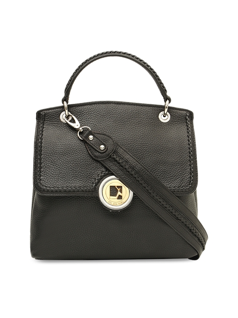 Da Milano Black Solid Leather Satchel