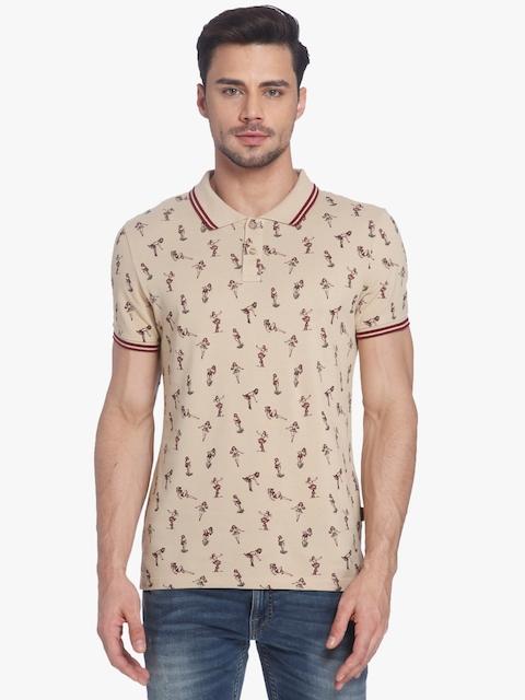 Beige Printed Slim Fit Polo T-Shirt