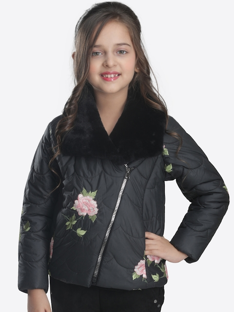 CUTECUMBER Girls Black Solid Embroidered Quilted Jacket