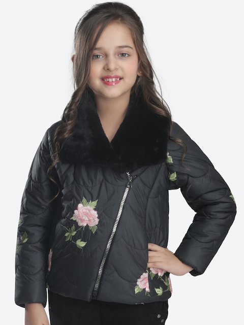 CUTECUMBER Girls Black Self Design Quilted Jacket