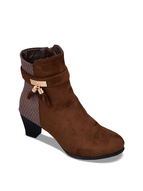 MSC Women Brown Woven Design Heeled Boots