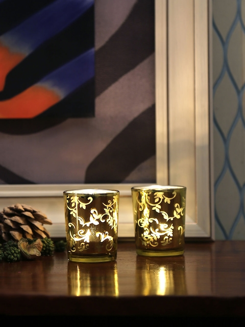 Athome by Nilkamal Set Of 3 Mustard Yellow Floral Candle Holders