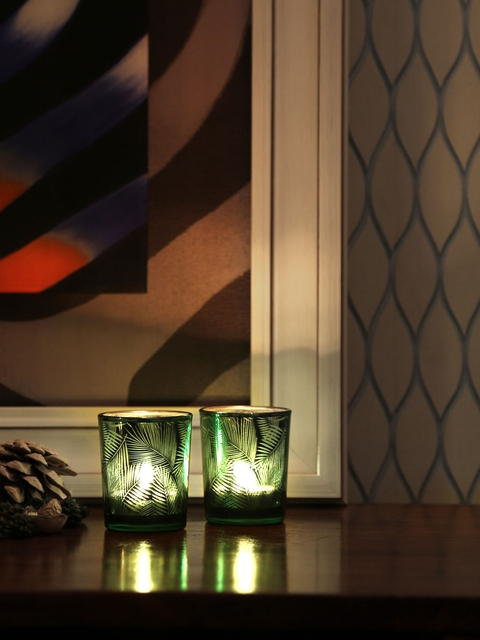 Athome by Nilkamal Set of 3 Green Candle Holder