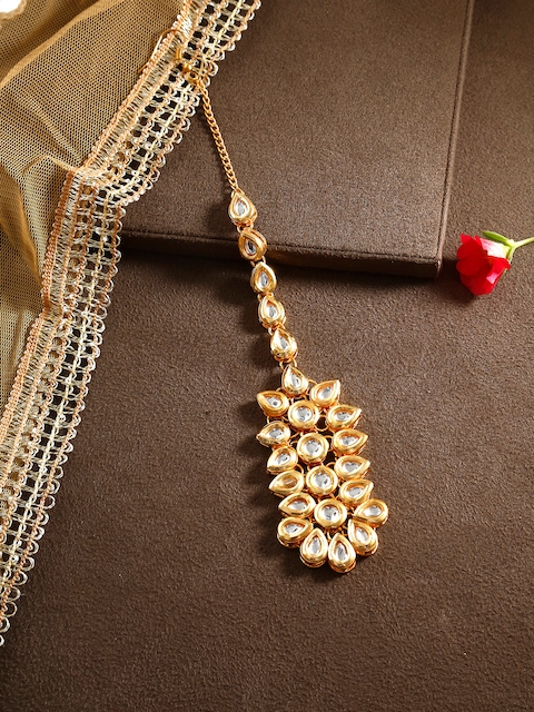Bamboo Tree Jewels Gold-Toned Hair Kundan Maang Tika