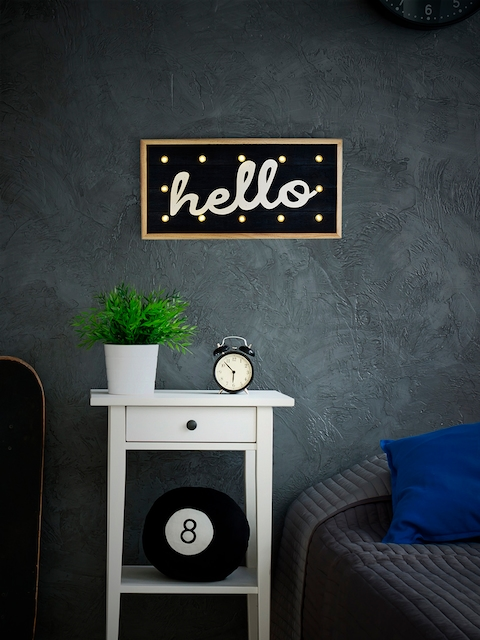 Archies Black Wooden LED Wall Hanging