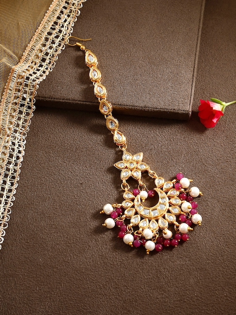 Bamboo Tree Jewels Pink Hair Kundan Maang Tika