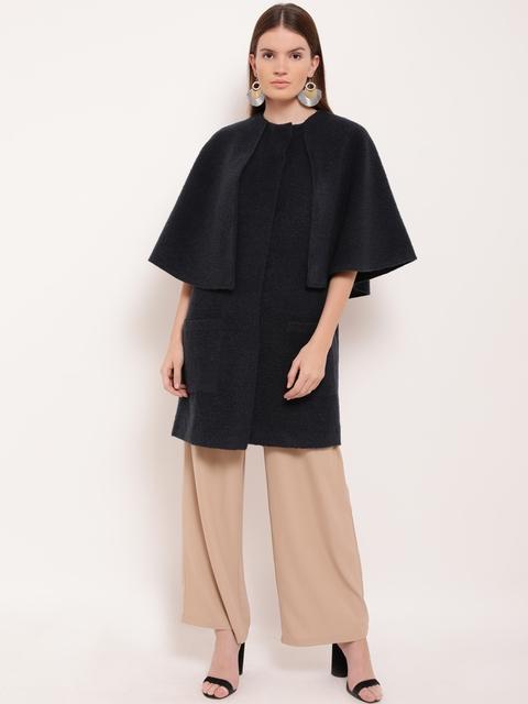 Kazo Women Black Solid Overcoat