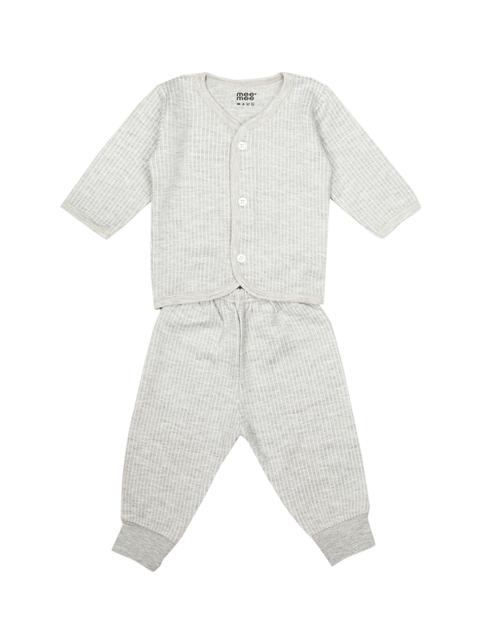 MeeMee Unisex Grey Melange Solid T-shirt with Pyjamas