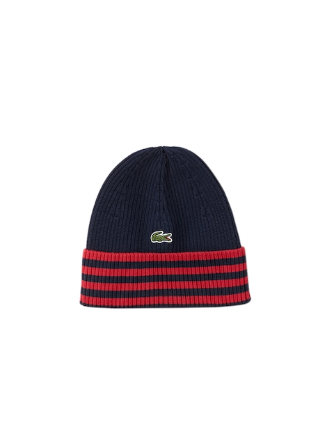 Lacoste Men Navy Blue & Red Striped Beanie
