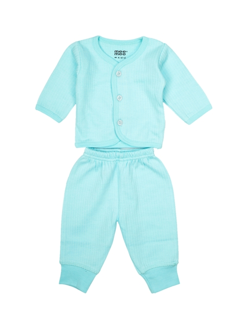 MeeMee Unisex Blue Solid T-shirt with Pyjama