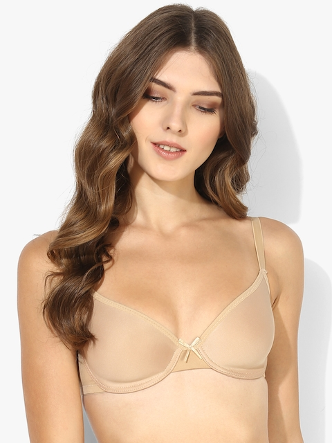 Beige Solid Underwired Non Padded Basic Bra