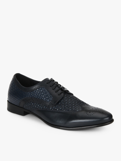 Navy Blue Textured Brogues Formal Shoes