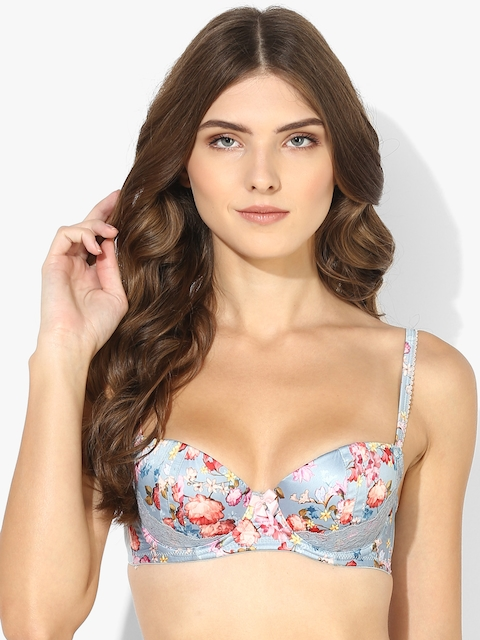 Grey Printed Underwired Padded Basic Bra