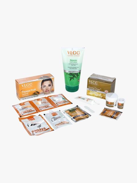 Papaya Fruit Facial Kit & Insta Glow Bleach & Neem Facewash