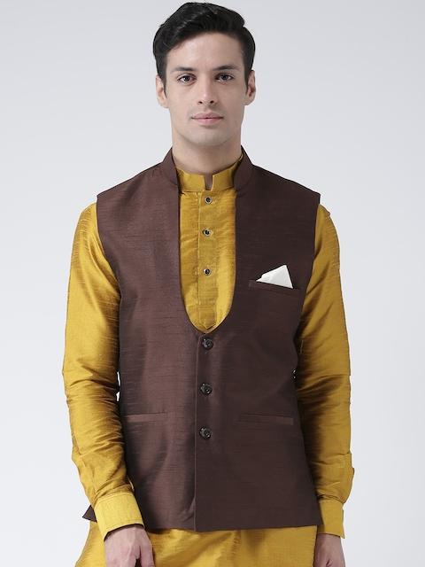 DEYANN Men Brown Woven Nehru Jacket