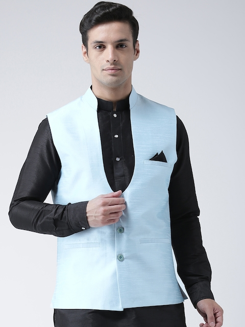 DEYANN Men Turquoise Blue Solid Nehru Jacket