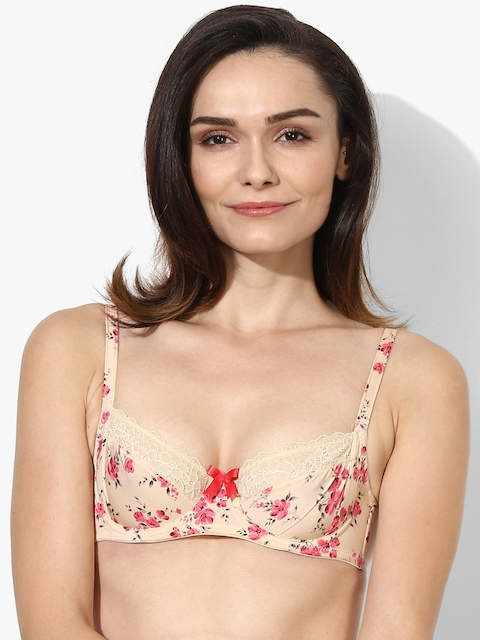 Bwitch Women Beige Printed Under-Wired Non Padded Bra
