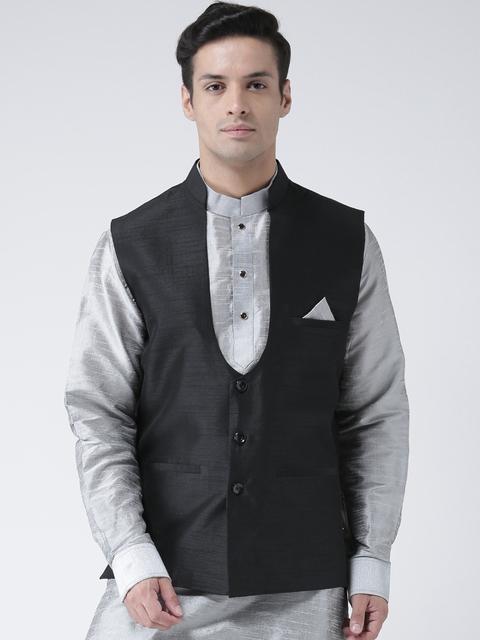 DEYANN Men Black Solid Nehru Jacket