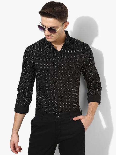 Black Printed Regular Fit Casual Shirt