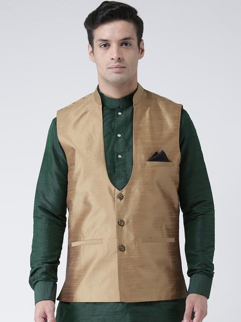 DEYANN Men Brown Solid Nehru Jacket