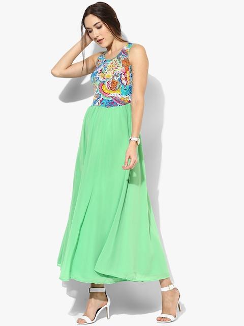Biba Women Green Printed Maxi Dress