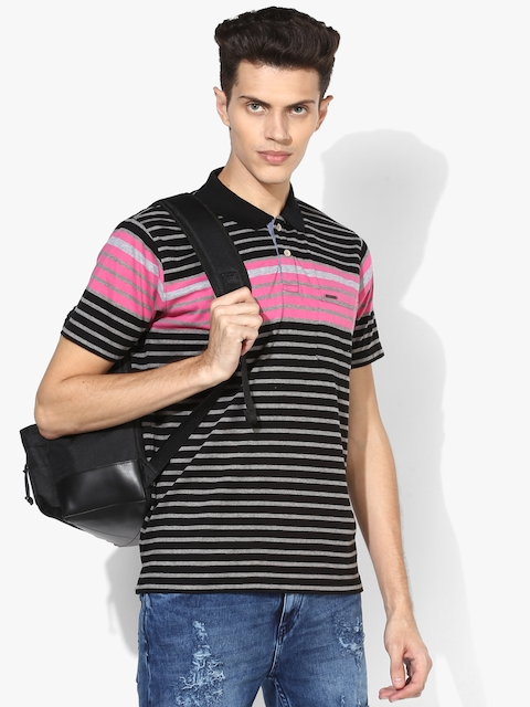 Black/Grey Striped Regular Fit Polo T-Shirt