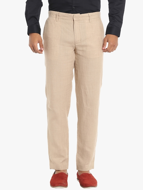 Beige Solid Regular Fit Chinos