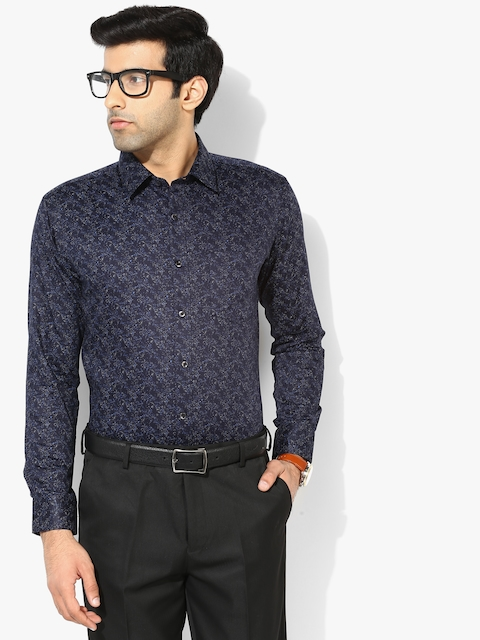 Navy Blue Printed Slim Fit Formal Shirt