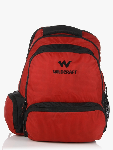 Unisex Red Solid Backpack