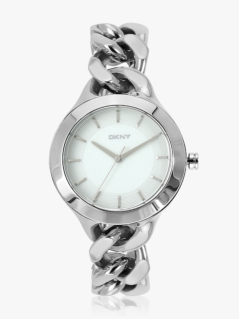 Silver/White Analogue Watch